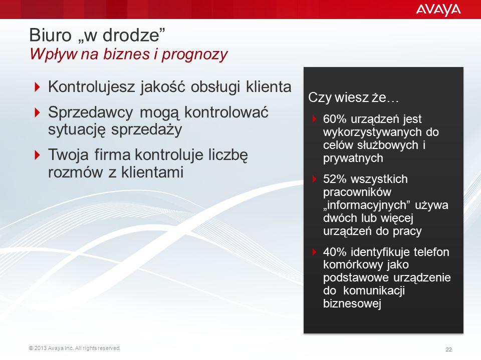 """© 2013 Avaya Inc. All rights reserved. 22 Biuro """"w drodze"""" Wpływ na biznes i prognozy  Kontrolujesz jakość obsługi klienta  Sprzedawcy mogą kontrolo"""