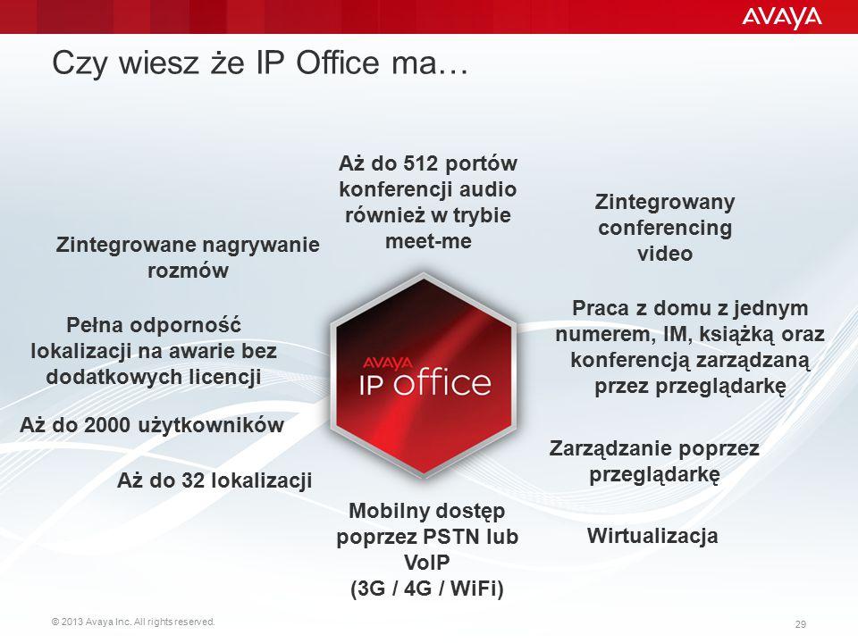 © 2013 Avaya Inc. All rights reserved. 29 Czy wiesz że IP Office ma… Praca z domu z jednym numerem, IM, książką oraz konferencją zarządzaną przez prze