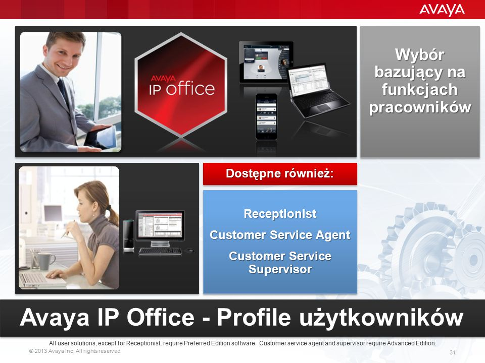 © 2013 Avaya Inc. All rights reserved. 31 Wybór bazujący na funkcjach pracowników All user solutions, except for Receptionist, require Preferred Editi
