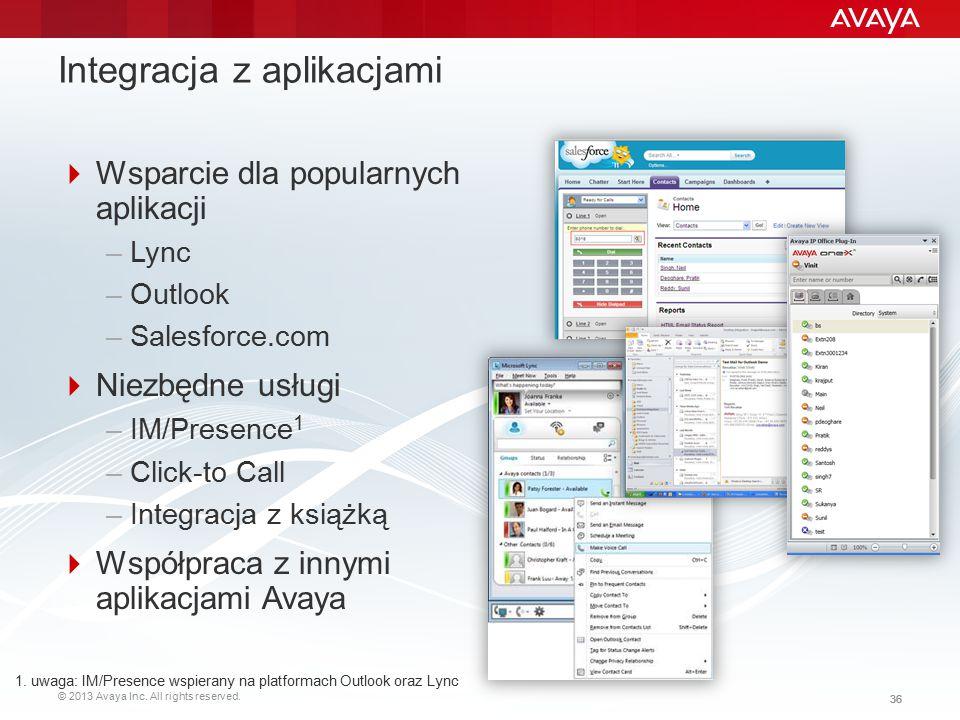 © 2013 Avaya Inc. All rights reserved. 36 Integracja z aplikacjami  Wsparcie dla popularnych aplikacji –Lync –Outlook –Salesforce.com  Niezbędne usł