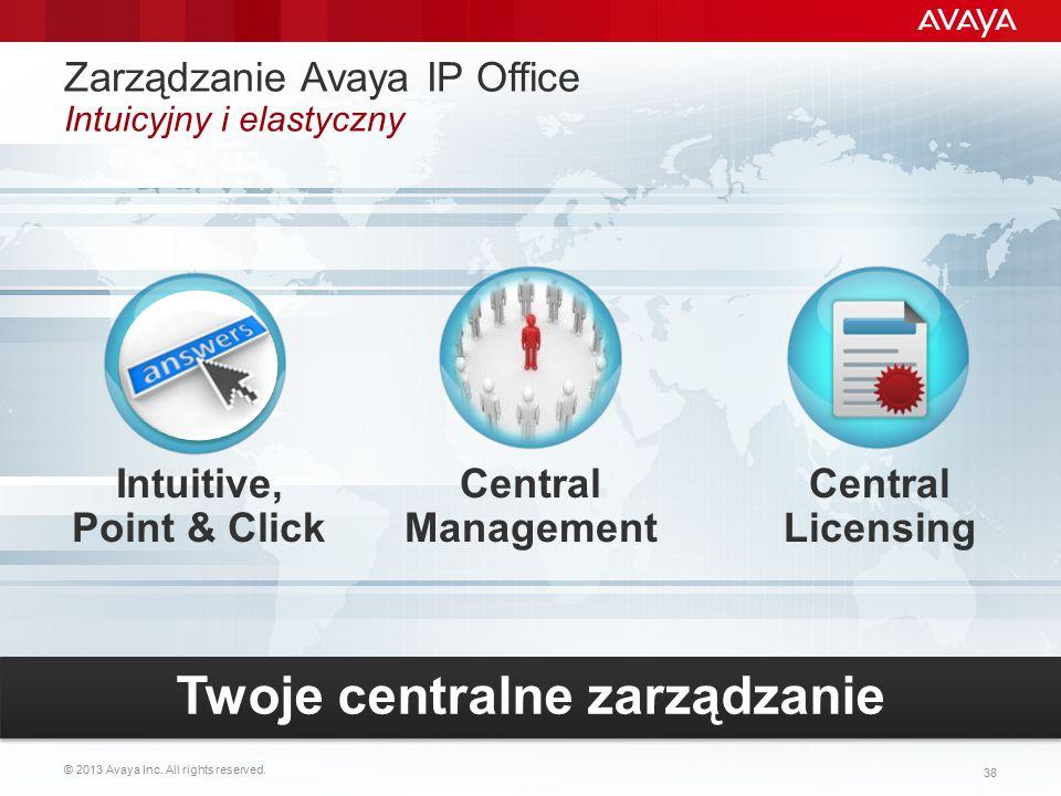 © 2013 Avaya Inc. All rights reserved. 38 Intuitive, Point & Click Central Management Zarządzanie Avaya IP Office Intuicyjny i elastyczny Central Lice