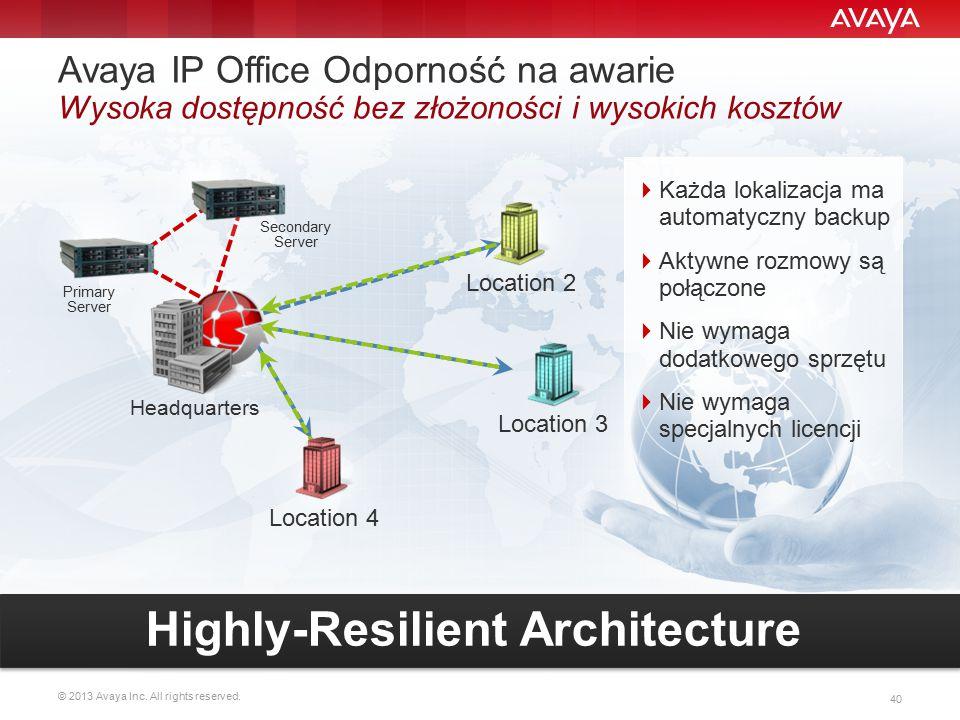 © 2013 Avaya Inc. All rights reserved. 40 Location 2 Location 3 Location 4 Primary Server Secondary Server Headquarters Avaya IP Office Odporność na a
