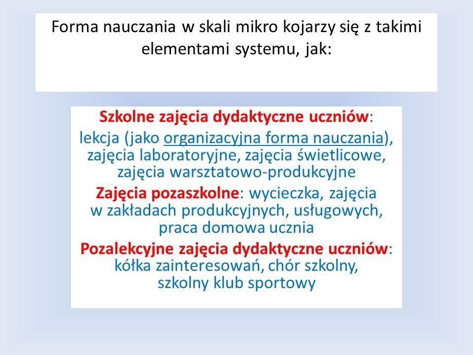 Forma nauczania w skali mikro kojarzy się z takimi elementami systemu, jak: Szkolne zajęcia dydaktyczne uczniów: lekcja (jako organizacyjna forma nauczania), zajęcia laboratoryjne, zajęcia świetlicowe, zajęcia warsztatowo-produkcyjne Zajęcia pozaszkolne: wycieczka, zajęcia w zakładach produkcyjnych, usługowych, praca domowa ucznia Pozalekcyjne zajęcia dydaktyczne uczniów: kółka zainteresowań, chór szkolny, szkolny klub sportowy