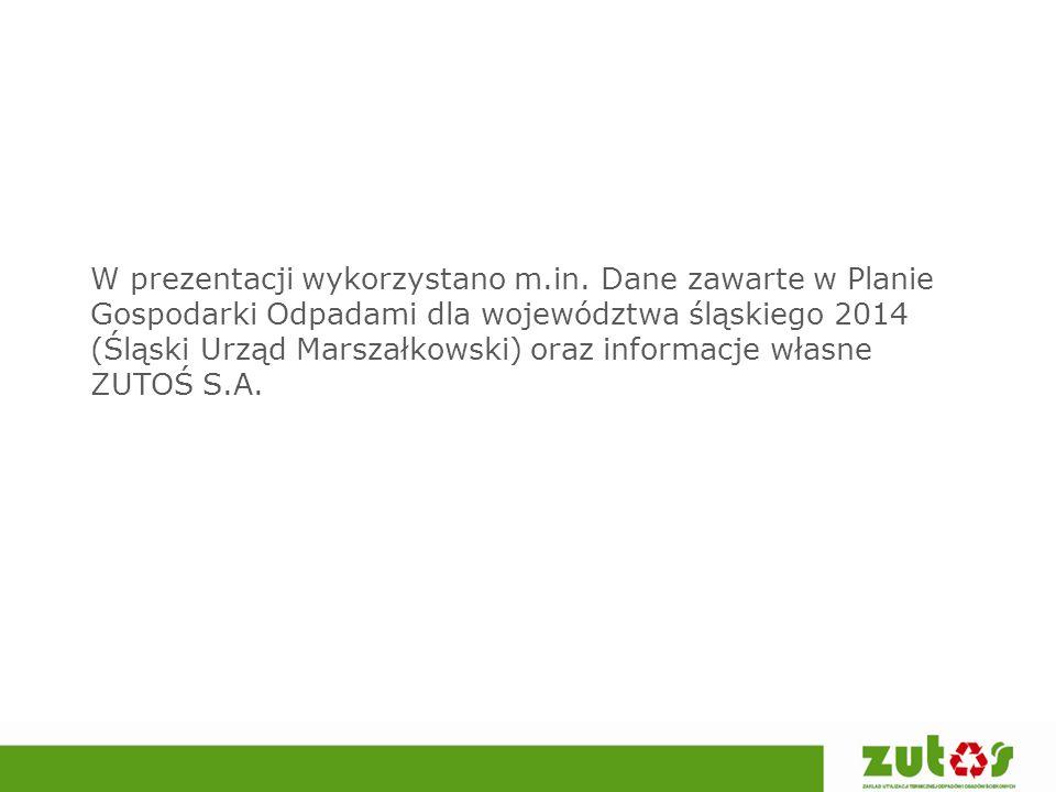 W prezentacji wykorzystano m.in. Dane zawarte w Planie Gospodarki Odpadami dla województwa śląskiego 2014 (Śląski Urząd Marszałkowski) oraz informacje