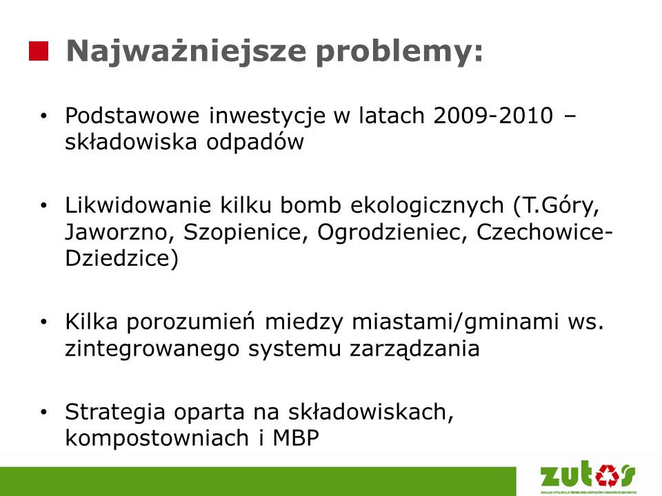 Najważniejsze problemy: Podstawowe inwestycje w latach 2009-2010 – składowiska odpadów Likwidowanie kilku bomb ekologicznych (T.Góry, Jaworzno, Szopie
