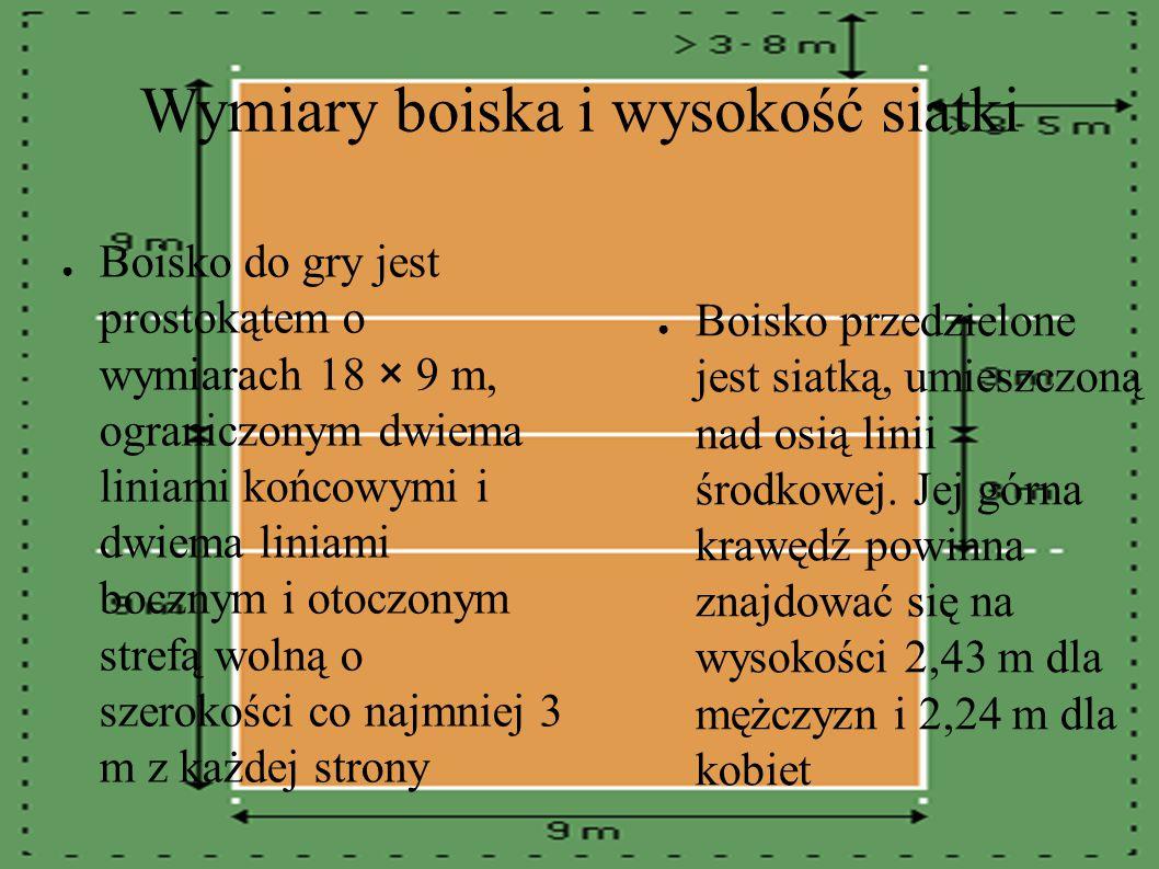 Wymiary boiska i wysokość siatki ● Boisko przedzielone jest siatką, umieszczoną nad osią linii środkowej.