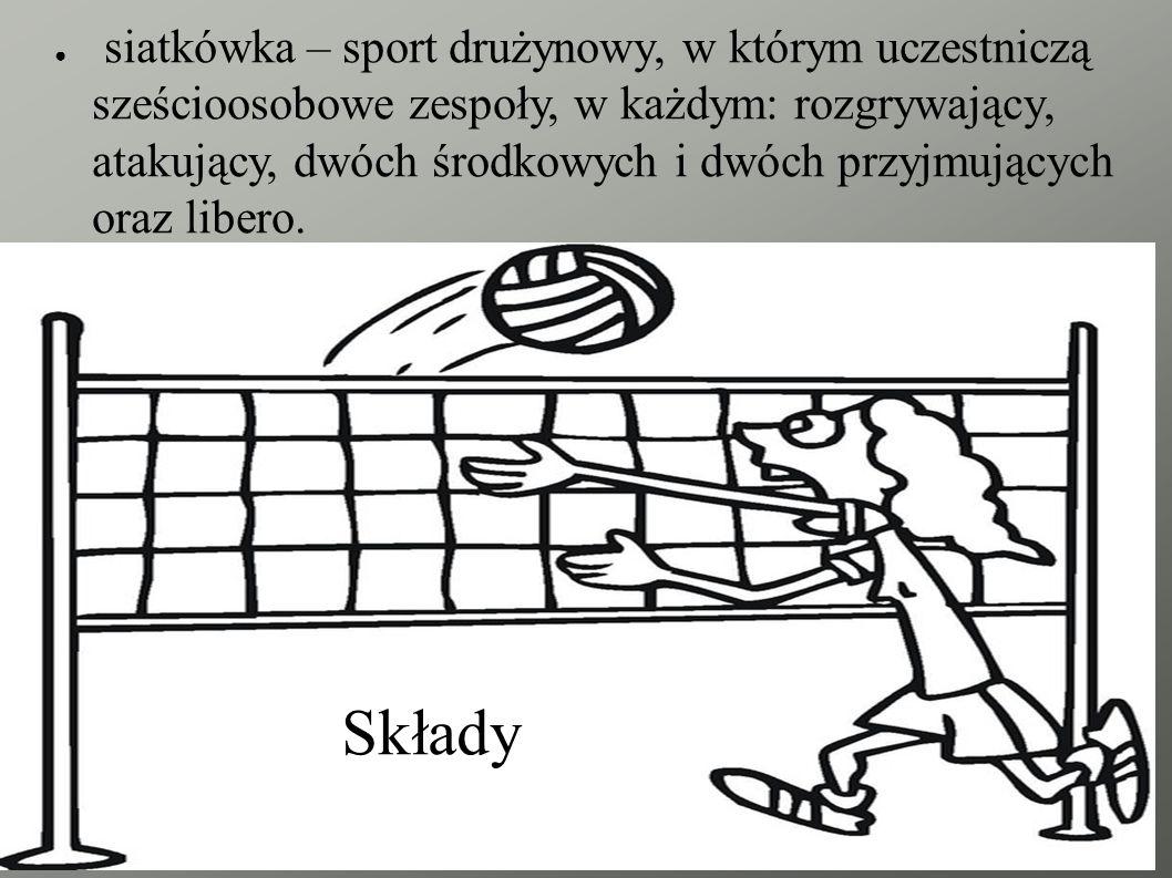 Składy ● siatkówka – sport drużynowy, w którym uczestniczą sześcioosobowe zespoły, w każdym: rozgrywający, atakujący, dwóch środkowych i dwóch przyjmujących oraz libero.