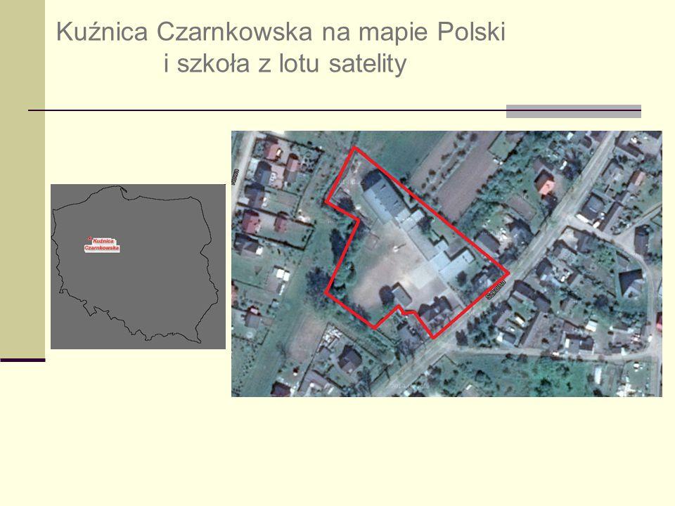 Kuźnica Czarnkowska na mapie Polski i szkoła z lotu satelity