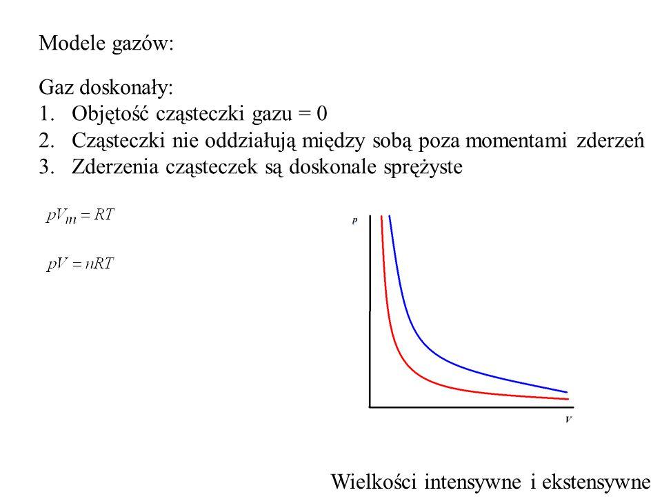 Modele gazów: Gaz doskonały: 1.Objętość cząsteczki gazu = 0 2.Cząsteczki nie oddziałują między sobą poza momentami zderzeń 3.Zderzenia cząsteczek są d