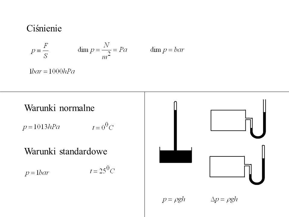 Ciśnienie Warunki normalne Warunki standardowe