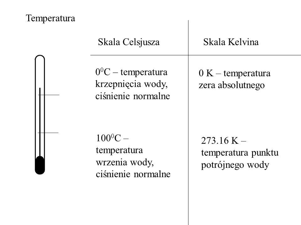 Temperatura Skala CelsjuszaSkala Kelvina 0 0 C – temperatura krzepnięcia wody, ciśnienie normalne 100 0 C – temperatura wrzenia wody, ciśnienie normal