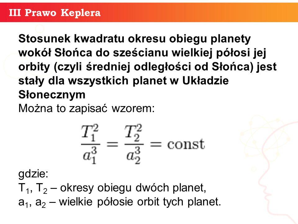 informatyka + 10 III Prawo Keplera Stosunek kwadratu okresu obiegu planety wokół Słońca do sześcianu wielkiej półosi jej orbity (czyli średniej odległ