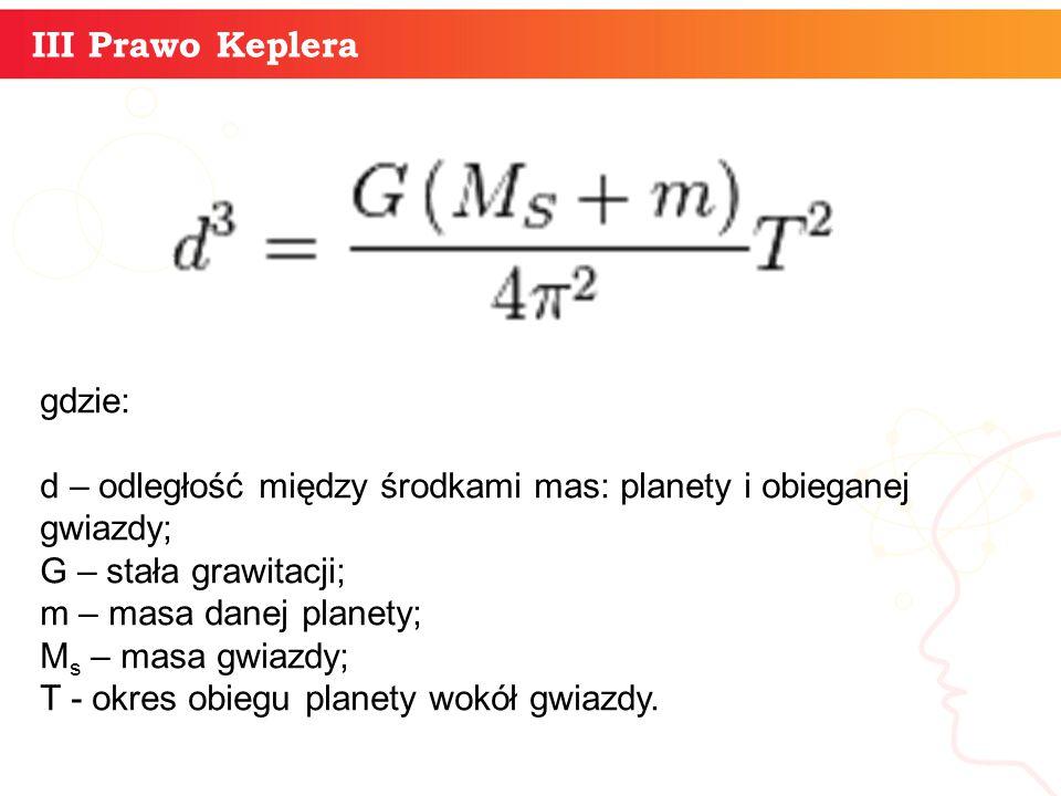 informatyka + 12 III Prawo Keplera gdzie: d – odległość między środkami mas: planety i obieganej gwiazdy; G – stała grawitacji; m – masa danej planety