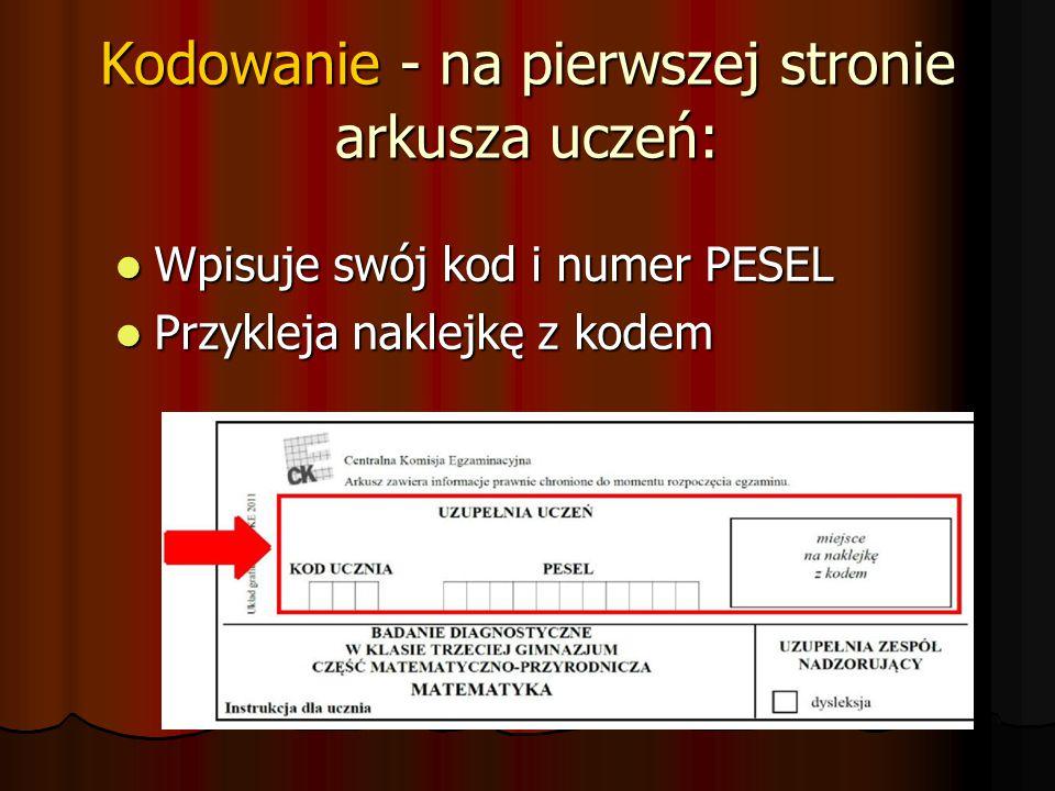 Kodowanie - na pierwszej stronie arkusza uczeń: Wpisuje swój kod i numer PESEL Wpisuje swój kod i numer PESEL Przykleja naklejkę z kodem Przykleja nak