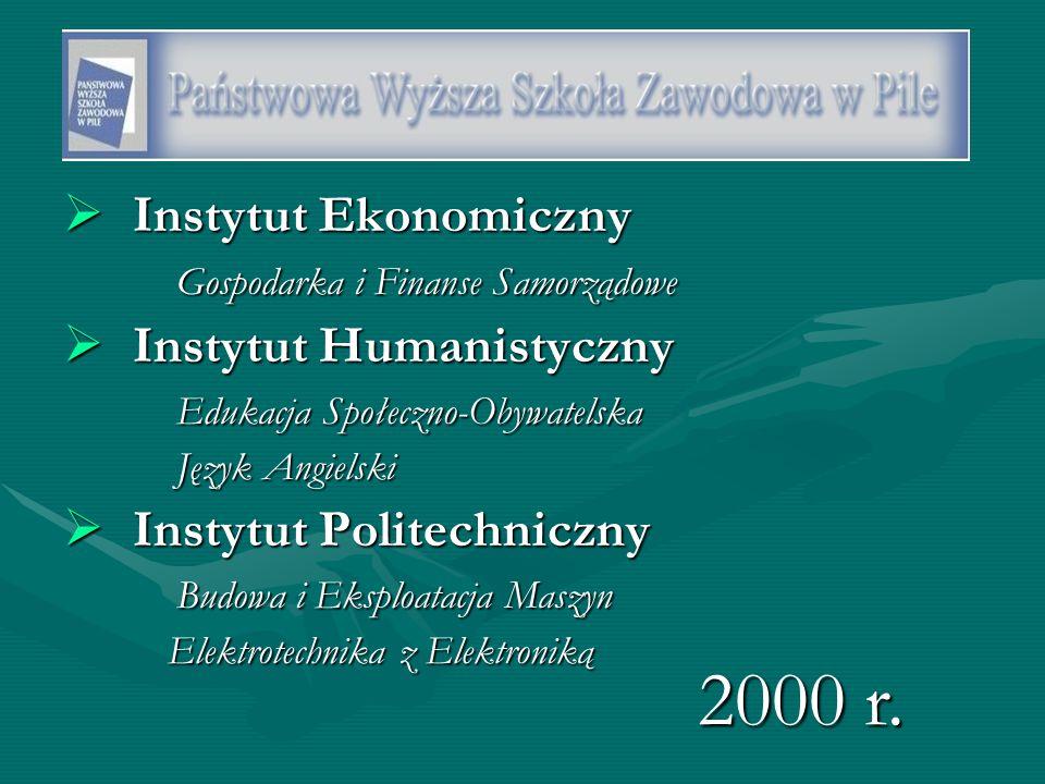  Instytut Ekonomiczny Gospodarka i Finanse Samorządowe  Instytut Humanistyczny Edukacja Społeczno-Obywatelska Język Angielski  Instytut Politechniczny Budowa i Eksploatacja Maszyn Elektrotechnika z Elektroniką 2000 r.