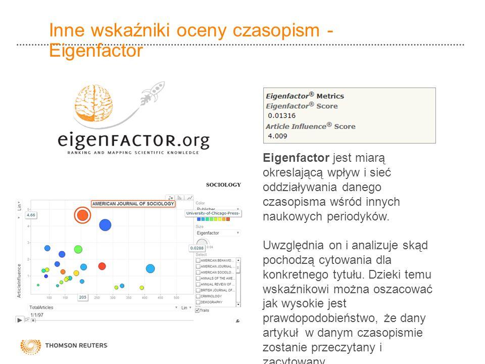 Inne wskaźniki oceny czasopism - Eigenfactor Eigenfactor jest miarą okreslającą wpływ i sieć oddziaływania danego czasopisma wśród innych naukowych pe