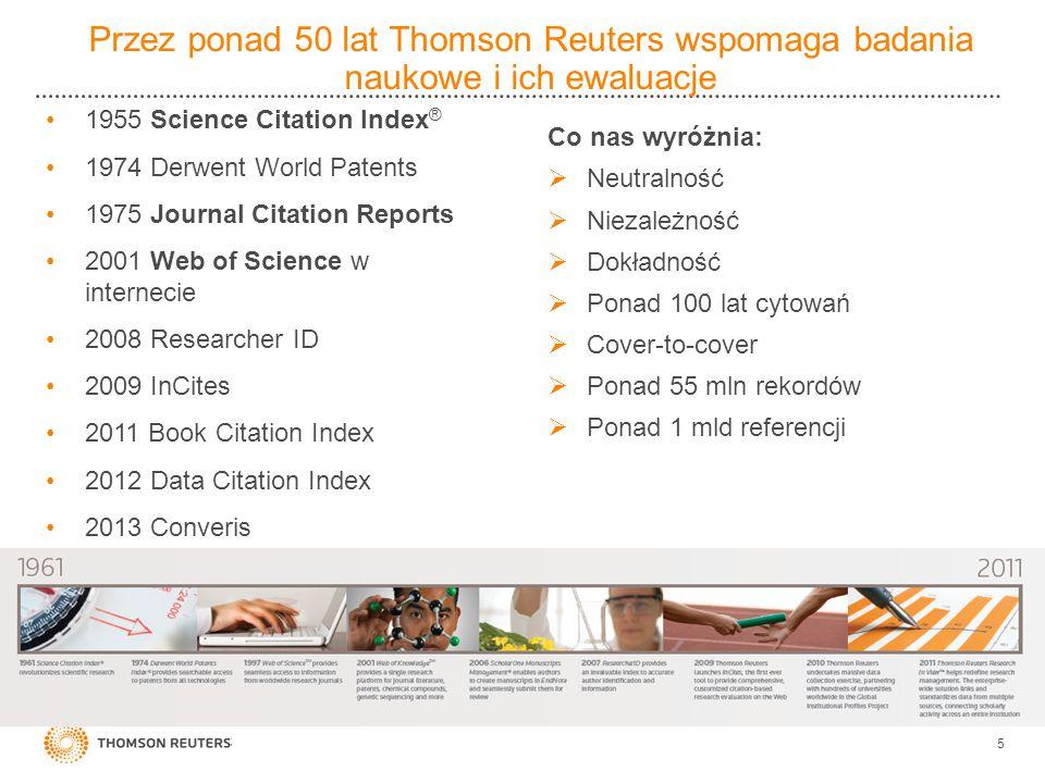Przez ponad 50 lat Thomson Reuters wspomaga badania naukowe i ich ewaluacje 1955 Science Citation Index ® 1974 Derwent World Patents 1975 Journal Cita