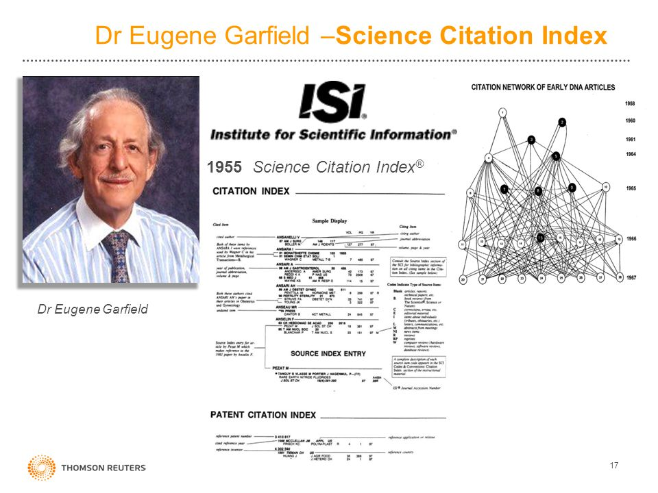 Dr Eugene Garfield –Science Citation Index 17 Dr Eugene Garfield 1955 Science Citation Index ®