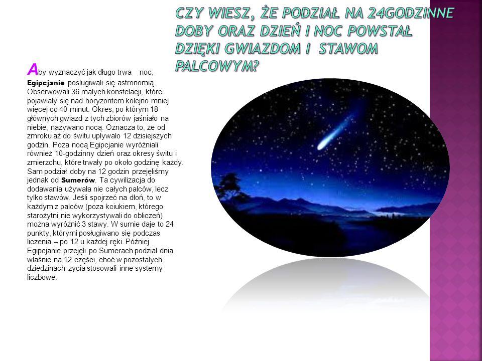 A by wyznaczyć jak długo trwa noc, Egipcjanie posługiwali się astronomią.