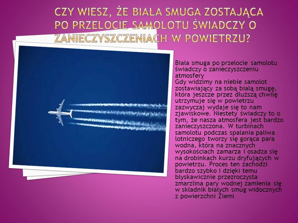 Biała smuga po przelocie samolotu świadczy o zanieczyszczeniu atmosfery Gdy widzimy na niebie samolot zostawiający za sobą białą smugę, która jeszcze przez dłuższą chwilę utrzymuje się w powietrzu zazwyczaj wydaje się to nam zjawiskowe.