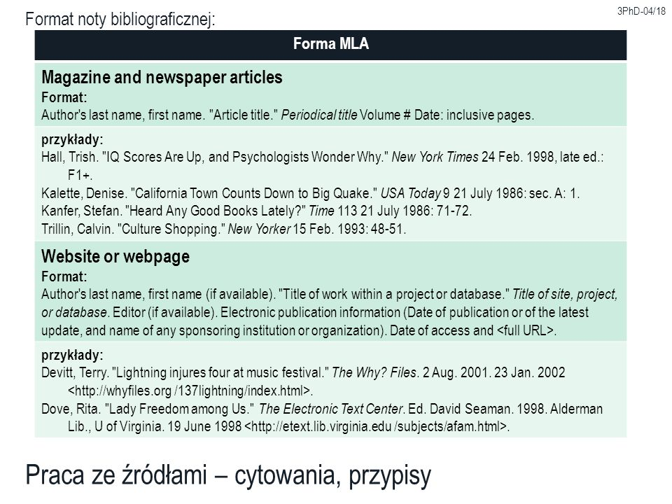 Format noty bibliograficznej: Forma MLA Magazine and newspaper articles Format: Author's last name, first name.