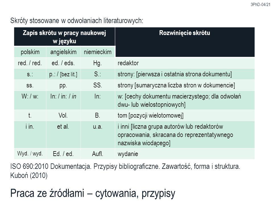 Zapis skrótu w pracy naukowej w języku Rozwinięcie skrótu polskimangielskimniemieckim red.