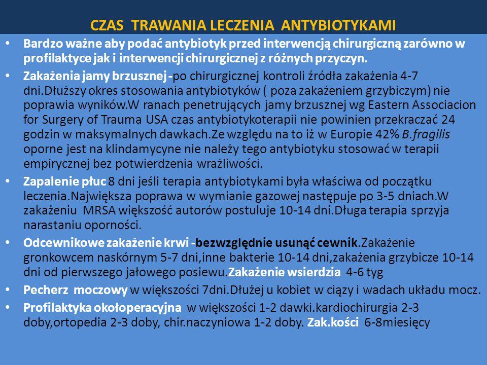 CZAS TRAWANIA LECZENIA ANTYBIOTYKAMI Bardzo ważne aby podać antybiotyk przed interwencją chirurgiczną zarówno w profilaktyce jak i interwencji chirurgicznej z różnych przyczyn.