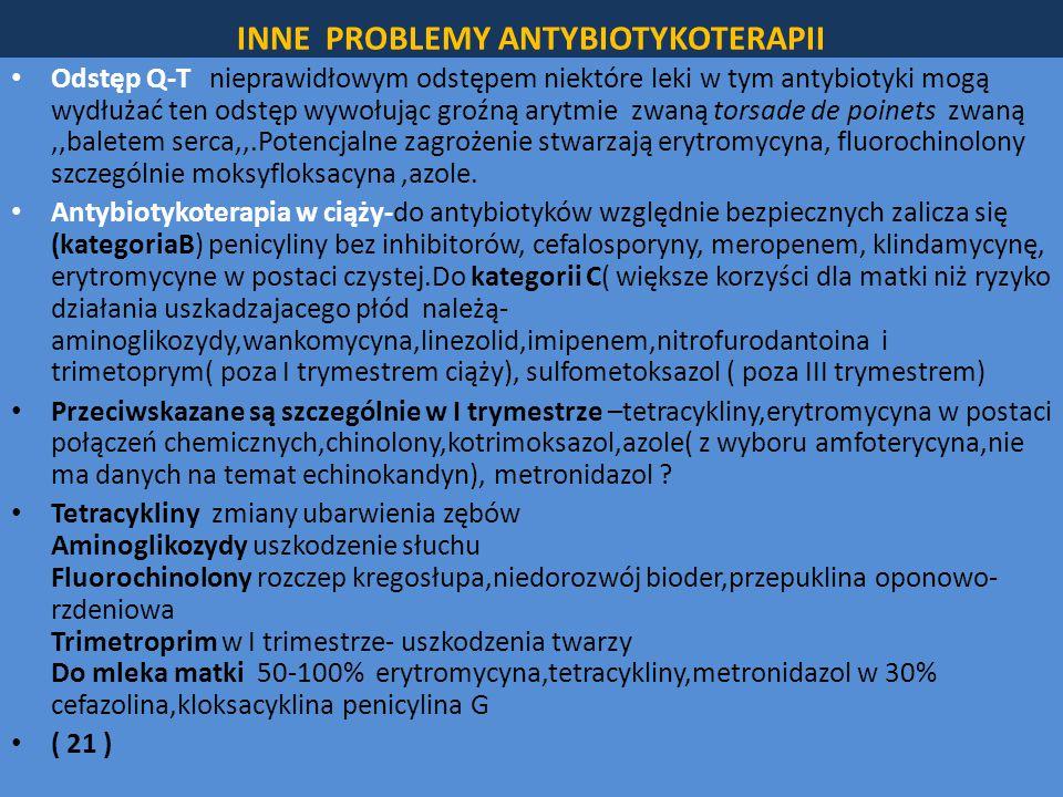 INNE PROBLEMY ANTYBIOTYKOTERAPII Odstęp Q-T nieprawidłowym odstępem niektóre leki w tym antybiotyki mogą wydłużać ten odstęp wywołując groźną arytmie zwaną torsade de poinets zwaną,,baletem serca,,.Potencjalne zagrożenie stwarzają erytromycyna, fluorochinolony szczególnie moksyfloksacyna,azole.