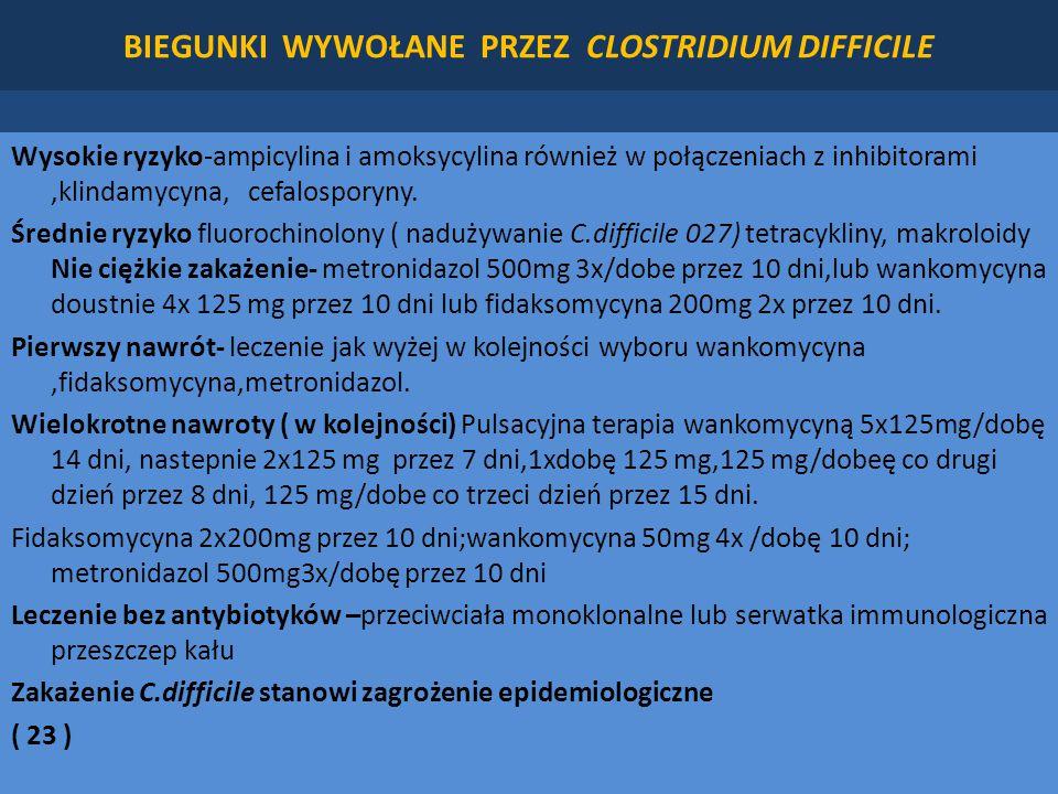 BIEGUNKI WYWOŁANE PRZEZ CLOSTRIDIUM DIFFICILE Wysokie ryzyko-ampicylina i amoksycylina również w połączeniach z inhibitorami,klindamycyna, cefalosporyny.