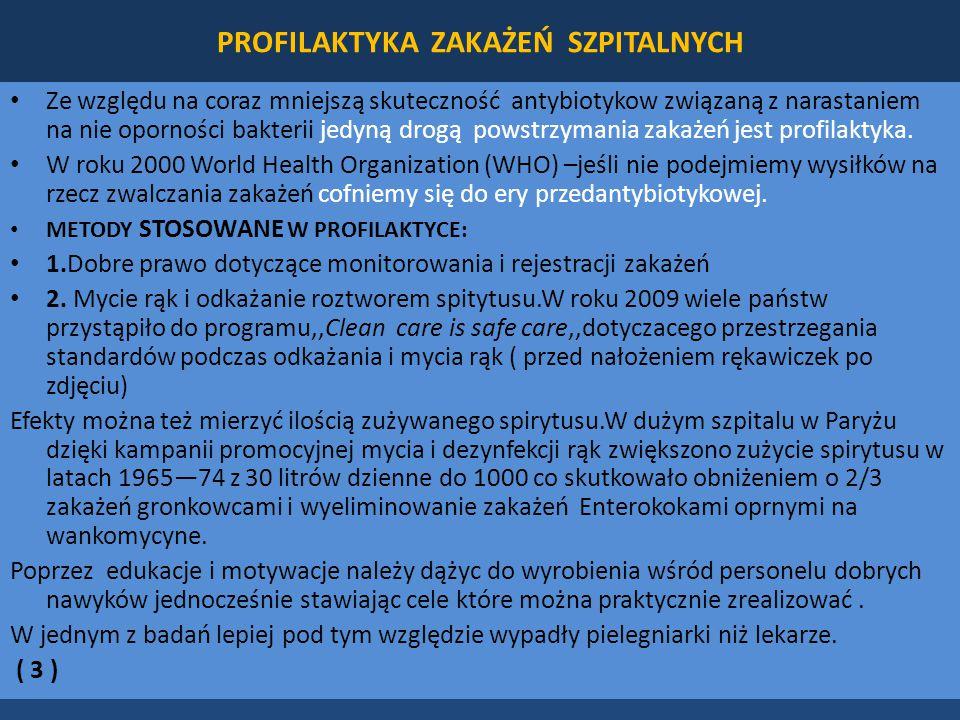 PROFILAKTYKA ZAKAŻEŃ SZPITALNYCH Ze względu na coraz mniejszą skuteczność antybiotykow związaną z narastaniem na nie oporności bakterii jedyną drogą powstrzymania zakażeń jest profilaktyka.