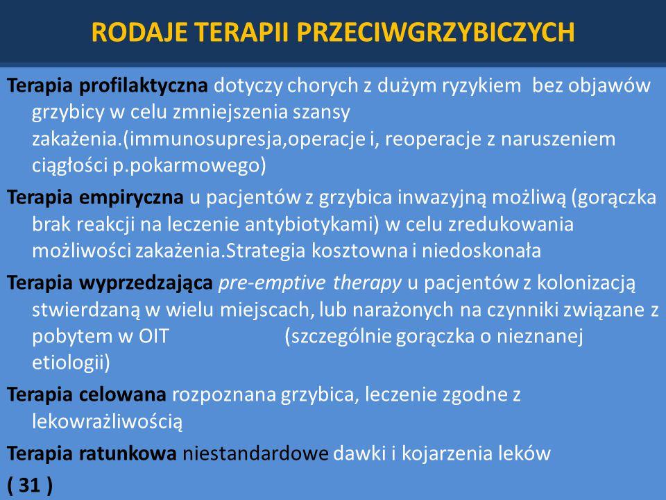 RODAJE TERAPII PRZECIWGRZYBICZYCH Terapia profilaktyczna dotyczy chorych z dużym ryzykiem bez objawów grzybicy w celu zmniejszenia szansy zakażenia.(immunosupresja,operacje i, reoperacje z naruszeniem ciągłości p.pokarmowego) Terapia empiryczna u pacjentów z grzybica inwazyjną możliwą (gorączka brak reakcji na leczenie antybiotykami) w celu zredukowania możliwości zakażenia.Strategia kosztowna i niedoskonała Terapia wyprzedzająca pre-emptive therapy u pacjentów z kolonizacją stwierdzaną w wielu miejscach, lub narażonych na czynniki związane z pobytem w OIT (szczególnie gorączka o nieznanej etiologii) Terapia celowana rozpoznana grzybica, leczenie zgodne z lekowrażliwością Terapia ratunkowa niestandardowe dawki i kojarzenia leków ( 31 )