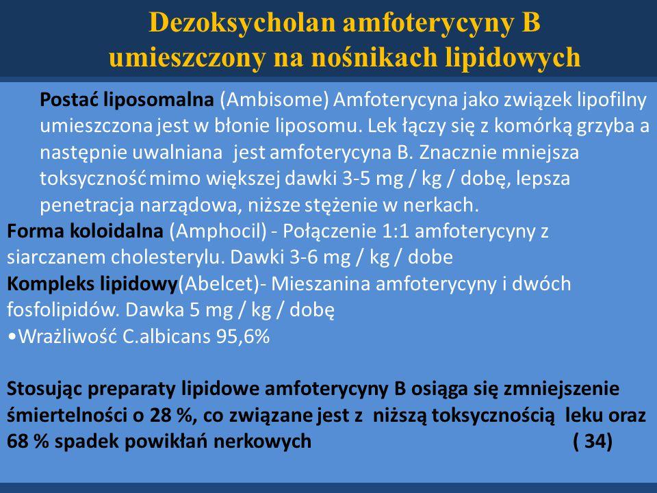 Postać liposomalna (Ambisome) Amfoterycyna jako związek lipofilny umieszczona jest w błonie liposomu.