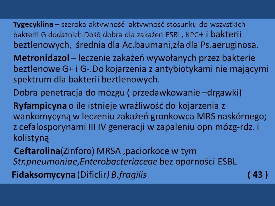 Tygecyklina – szeroka aktywność aktywność stosunku do wszystkich bakterii G dodatnich.Dość dobra dla zakażeń ESBL, KPC + i bakterii beztlenowych, średnia dla Ac.baumani,zła dla Ps.aeruginosa.