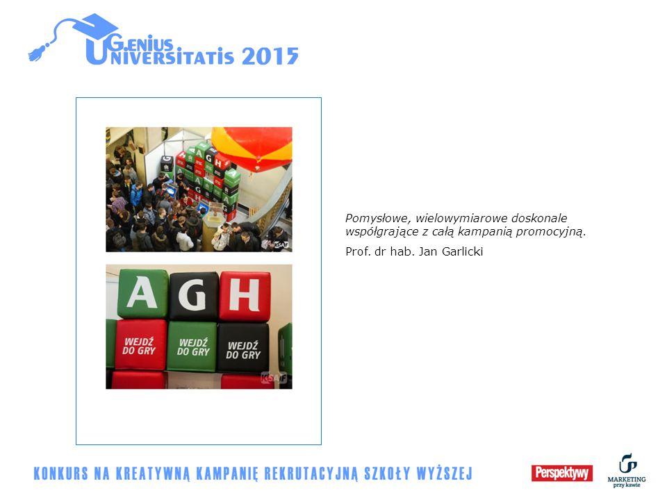 Pomysłowe, wielowymiarowe doskonale współgrające z całą kampanią promocyjną. Prof. dr hab. Jan Garlicki