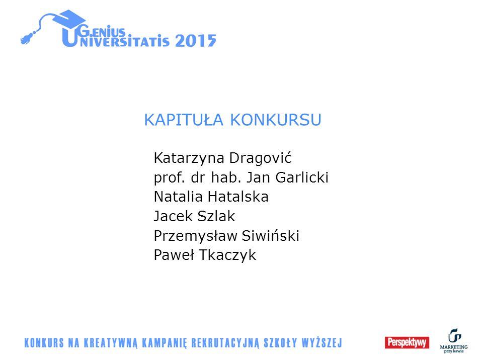 KAPITUŁA KONKURSU Katarzyna Dragović prof. dr hab. Jan Garlicki Natalia Hatalska Jacek Szlak Przemysław Siwiński Paweł Tkaczyk