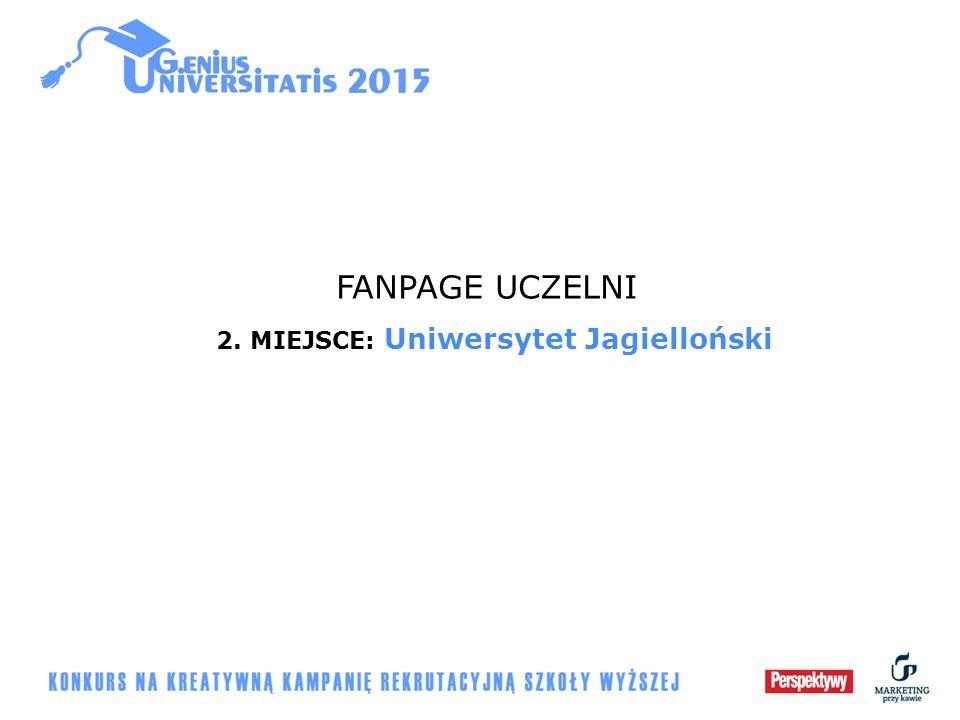 FANPAGE UCZELNI 2. MIEJSCE: Uniwersytet Jagielloński