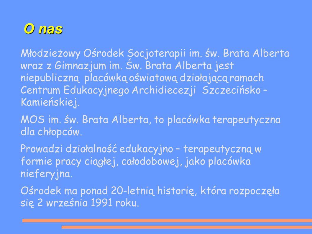 O nas Młodzieżowy Ośrodek Socjoterapii im. św. Brata Alberta wraz z Gimnazjum im.