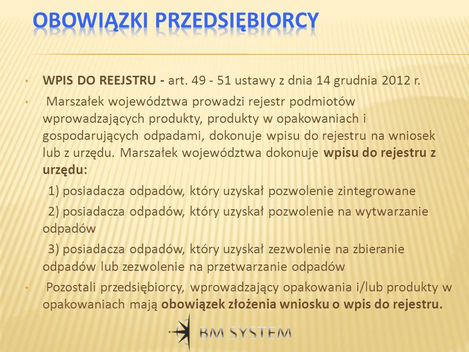 WPIS DO REEJSTRU - art. 49 - 51 ustawy z dnia 14 grudnia 2012 r. Marszałek województwa prowadzi rejestr podmiotów wprowadzających produkty, produkty w
