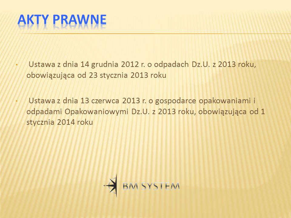 Ustawa z dnia 14 grudnia 2012 r. o odpadach Dz.U. z 2013 roku, obowiązująca od 23 stycznia 2013 roku Ustawa z dnia 13 czerwca 2013 r. o gospodarce opa