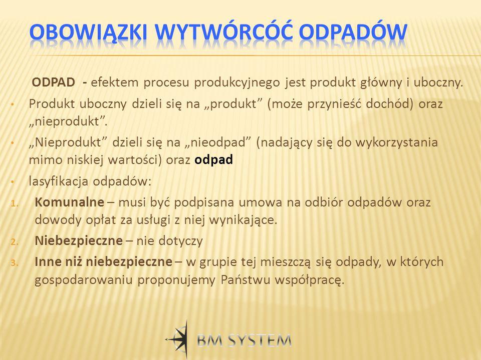 """ODPAD - efektem procesu produkcyjnego jest produkt główny i uboczny. Produkt uboczny dzieli się na """"produkt"""" (może przynieść dochód) oraz """"nieprodukt"""""""