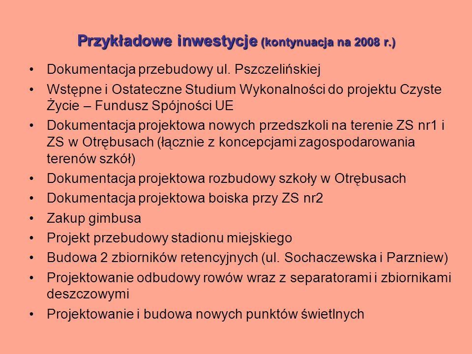 Przykładowe inwestycje (kontynuacja na 2008 r.) Dokumentacja projektowa wodociągów w Kaniach, Otrębusach, Żółwinie, Owczarni, Kotowicach, Falęcinie, Parzniewie, Krosnach, Mosznie, Koszajcu, Milęcinie Dokumentacja projektowa kanalizacji sanitarnej w Owczarni, Żółwinie, Kaniach i Otrębusach Dokumentacja projektowa oczyszczalni ścieków w Mosznie oraz kanalizacji sanitarnej z przyłączami w Parzniewie, Mosznie, Krosnach, Koszajcu, Domaniewie, Domaniewku Dokumentacja przebudowy SUW w Brwinowie i Parzniewie Budowa kanalizacji sanitarnej i deszczowej w Brwinowie i Otrębusach Projektowanie kanalizacji deszczowej Przebudowa ul.