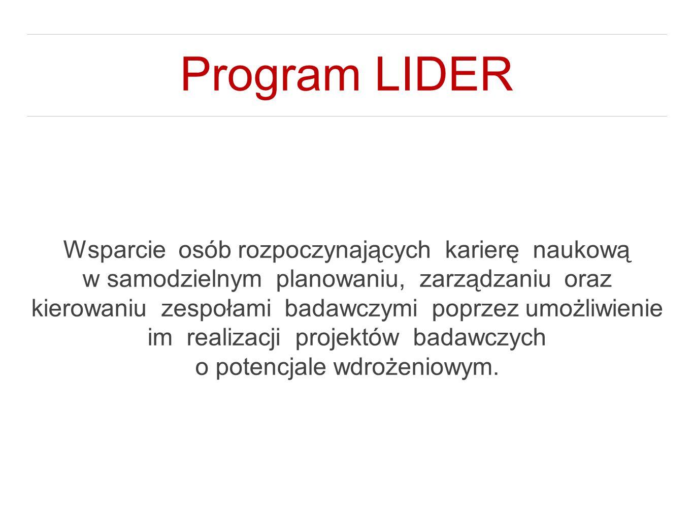 Program LIDER Wsparcie osób rozpoczynających karierę naukową w samodzielnym planowaniu, zarządzaniu oraz kierowaniu zespołami badawczymi poprzez umożl