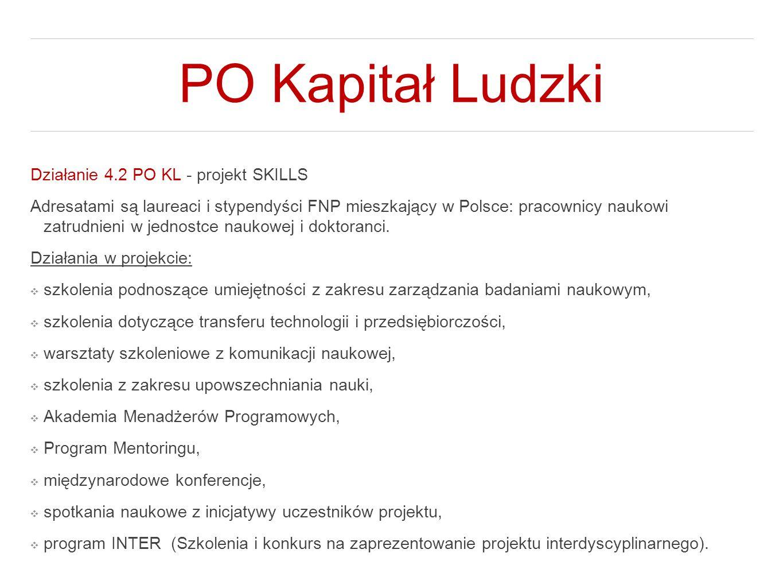 PO Kapitał Ludzki Działanie 4.2 PO KL - projekt SKILLS Adresatami są laureaci i stypendyści FNP mieszkający w Polsce: pracownicy naukowi zatrudnieni w