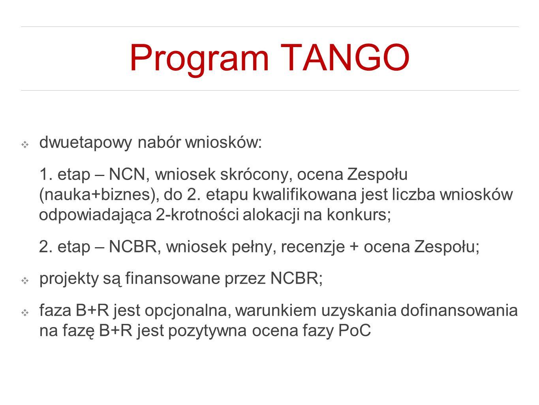 Program TANGO ❖ dwuetapowy nabór wniosków: 1. etap – NCN, wniosek skrócony, ocena Zespołu (nauka+biznes), do 2. etapu kwalifikowana jest liczba wniosk