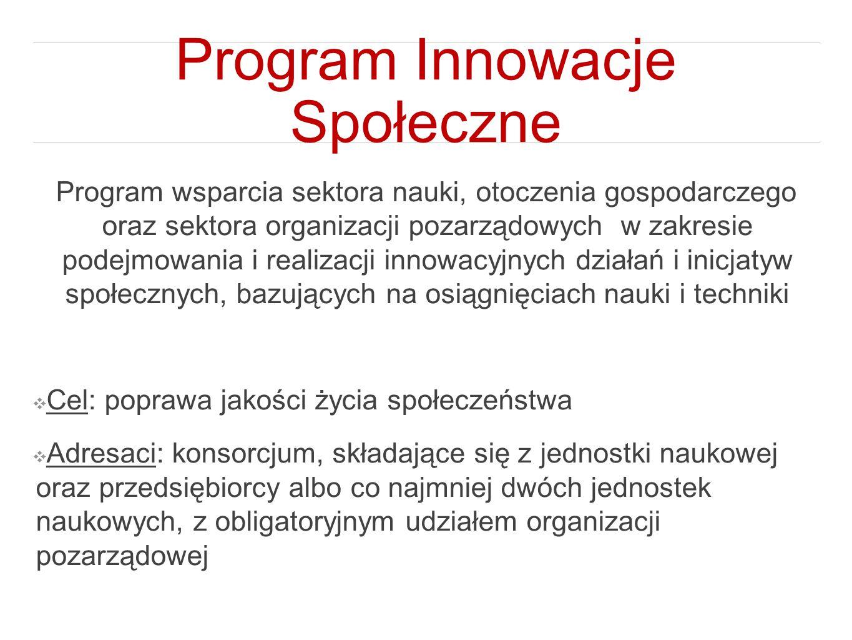 Program Innowacje Społeczne Program wsparcia sektora nauki, otoczenia gospodarczego oraz sektora organizacji pozarządowych w zakresie podejmowania i r