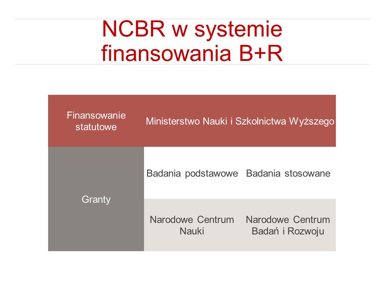 NCBR w systemie finansowania B+R Finansowanie statutowe Ministerstwo Nauki i Szkolnictwa Wyższego Granty Badania podstawoweBadania stosowane Narodowe