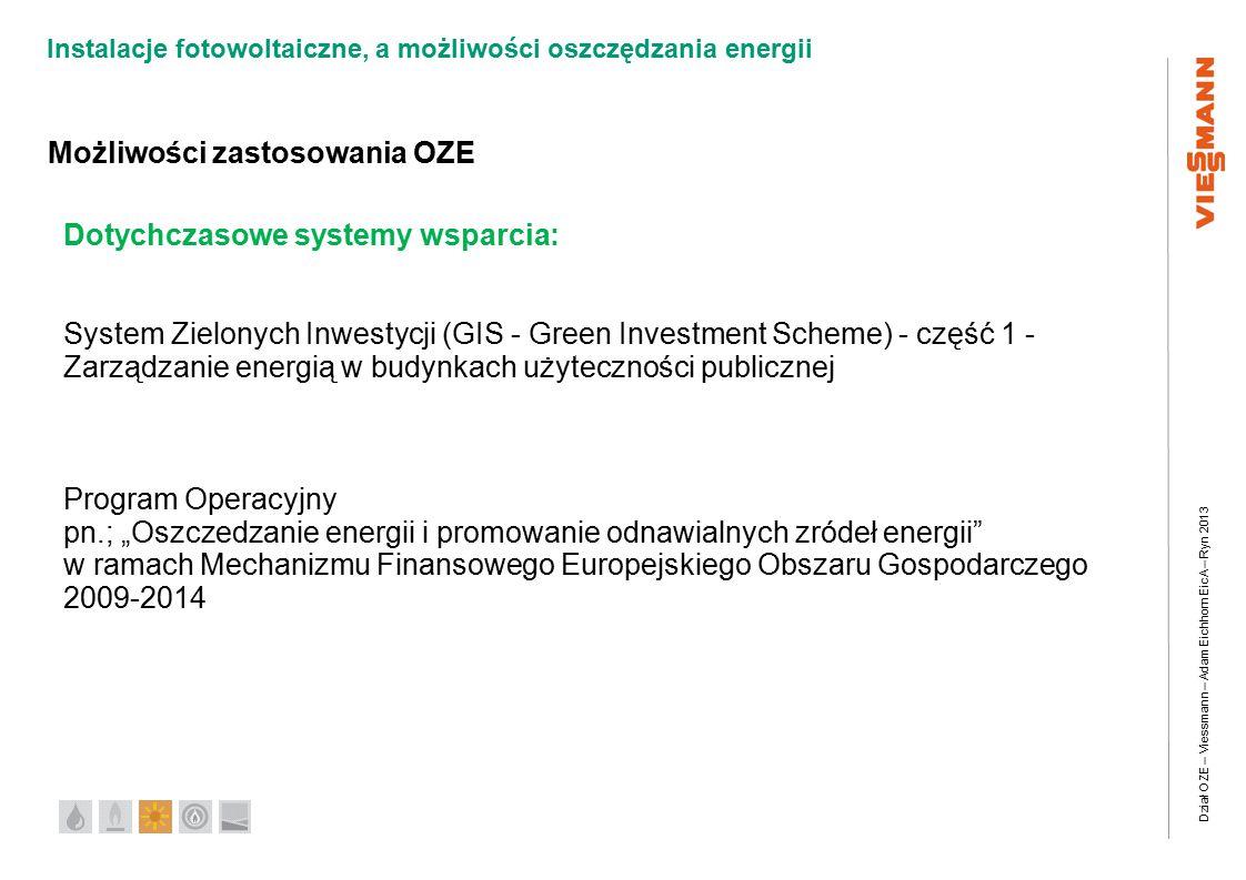 """Dział OZE – Viessmann – Adam Eichhorn EicA – Ryn 2013 Instalacje fotowoltaiczne, a możliwości oszczędzania energii Możliwości zastosowania OZE Dotychczasowe systemy wsparcia: System Zielonych Inwestycji (GIS - Green Investment Scheme) - część 1 - Zarządzanie energią w budynkach użyteczności publicznej Program Operacyjny pn.; """"Oszczedzanie energii i promowanie odnawialnych zródeł energii w ramach Mechanizmu Finansowego Europejskiego Obszaru Gospodarczego 2009-2014"""