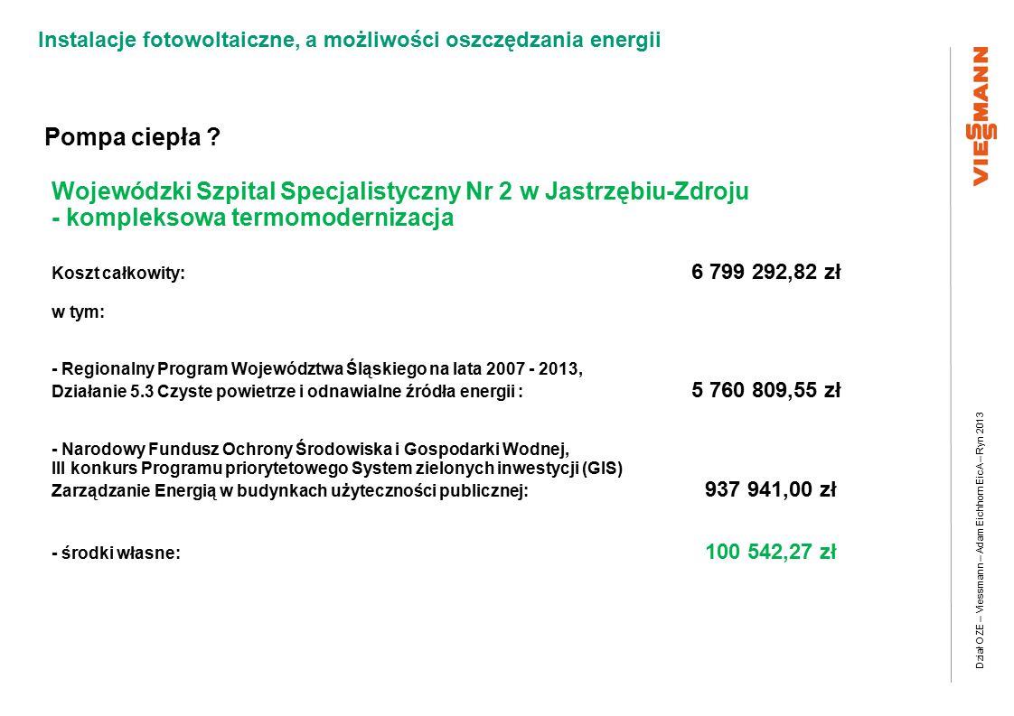 Dział OZE – Viessmann – Adam Eichhorn EicA – Ryn 2013 Instalacje fotowoltaiczne, a możliwości oszczędzania energii Pompa ciepła .