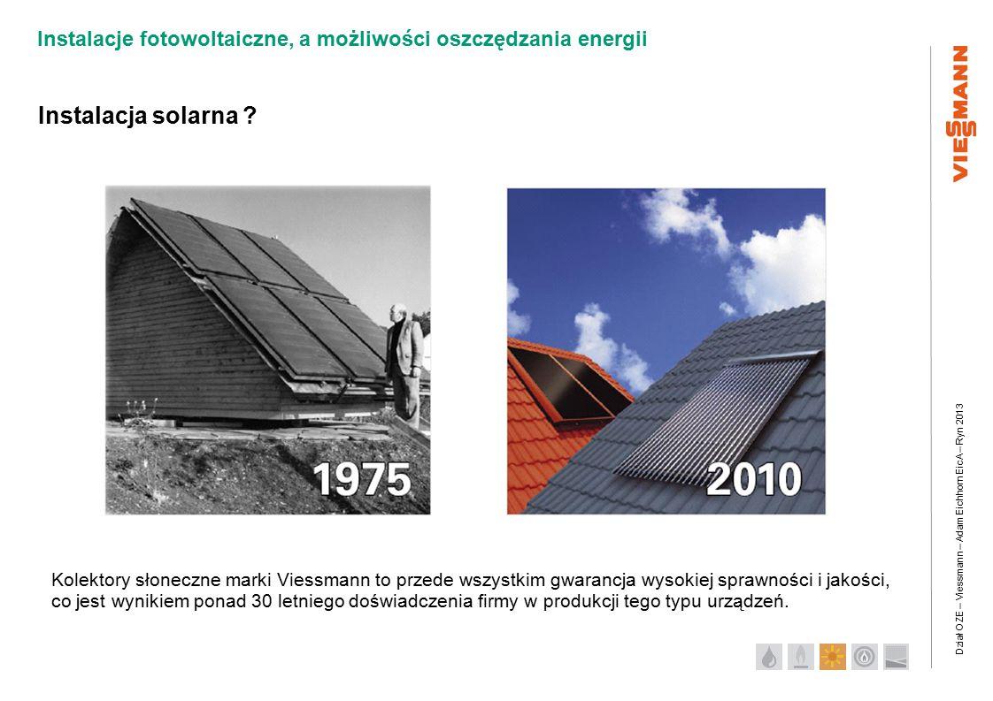 Dział OZE – Viessmann – Adam Eichhorn EicA – Ryn 2013 Instalacje fotowoltaiczne, a możliwości oszczędzania energii Instalacja solarna .