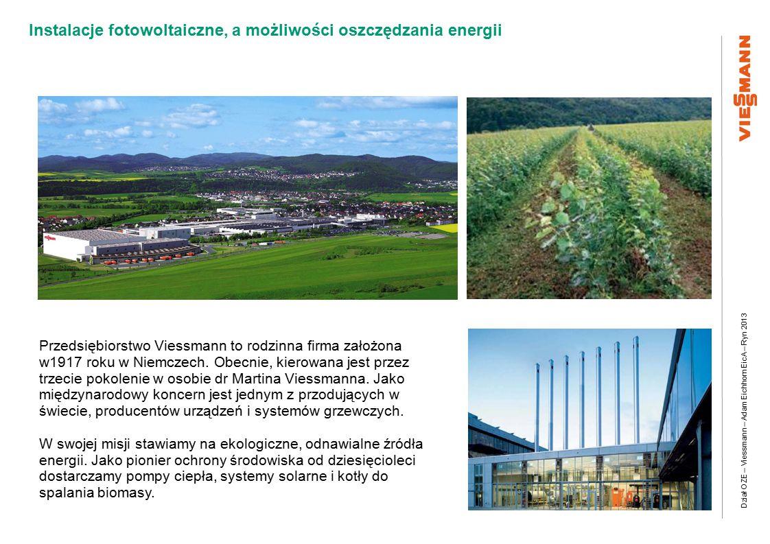 Dział OZE – Viessmann – Adam Eichhorn EicA – Ryn 2013 Instalacje fotowoltaiczne, a możliwości oszczędzania energii Przedsiębiorstwo Viessmann to rodzinna firma założona w1917 roku w Niemczech.